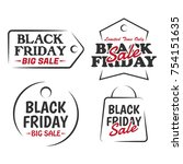 set of black friday sale design ...   Shutterstock . vector #754151635