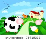 beautiful farm surrounded by... | Shutterstock . vector #75415333