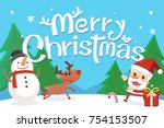 merry christmas with santa and... | Shutterstock .eps vector #754153507