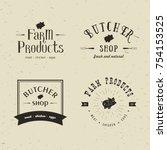 set of retro styled butchery... | Shutterstock .eps vector #754153525
