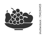 bowl with fruit glyph icon.... | Shutterstock .eps vector #754154455