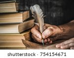 man writing an old letter. old... | Shutterstock . vector #754154671