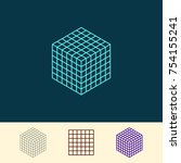 cube wireframe. vector outline... | Shutterstock .eps vector #754155241