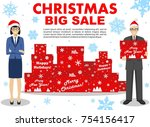christmas and new year big sale.... | Shutterstock .eps vector #754156417