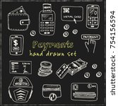 hand drawn doodle payments set. ... | Shutterstock .eps vector #754156594