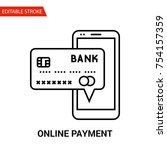 online payment icon. thin line... | Shutterstock .eps vector #754157359