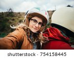 motorcycle passenger  young... | Shutterstock . vector #754158445