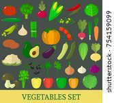 a set of vegetables. organic... | Shutterstock . vector #754159099