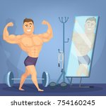 muscular man posing a front of... | Shutterstock .eps vector #754160245