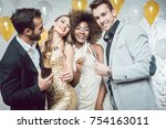 party people with drinks... | Shutterstock . vector #754163011