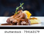 roasted duck with mashed... | Shutterstock . vector #754163179