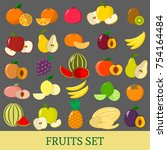 a set of fruits . organic... | Shutterstock . vector #754164484