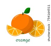 orange icon in flat style.... | Shutterstock . vector #754164511
