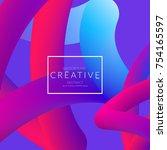 abstract 3d liquid fluid color... | Shutterstock .eps vector #754165597