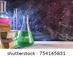 classroom desk and blackboard... | Shutterstock . vector #754165831