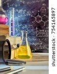 classroom desk and drawn... | Shutterstock . vector #754165897