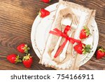 tableware and silverware with... | Shutterstock . vector #754166911