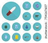 flat icons gun  parchment ... | Shutterstock .eps vector #754167607