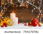 christmas candles with...   Shutterstock . vector #754170781