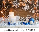 christmas candles with... | Shutterstock . vector #754170814