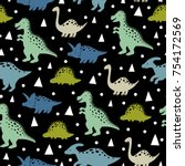 cute pattern with dinosaurs | Shutterstock .eps vector #754172569