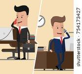 two businessmen communicate... | Shutterstock .eps vector #754173427