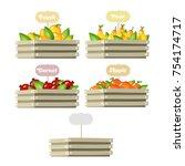 wood box of fruit illustration | Shutterstock .eps vector #754174717