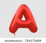 red balloon font letter a made... | Shutterstock . vector #754175689