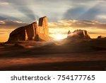 sunset in the dasht e lut... | Shutterstock . vector #754177765