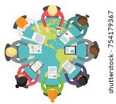 international business meeting...   Shutterstock .eps vector #754179367