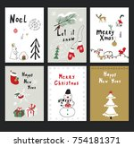 merry christmas vector cartoon... | Shutterstock .eps vector #754181371