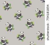 pattern with watercolor panda... | Shutterstock . vector #754181854