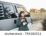 beautiful young girl travels... | Shutterstock . vector #754182511