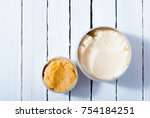 shea nut  and coffee butter... | Shutterstock . vector #754184251