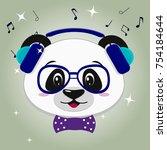 illustration of a cute panda... | Shutterstock .eps vector #754184644
