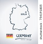 germany vector map with flag... | Shutterstock .eps vector #754191805