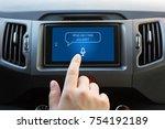 man hand touching to multimedia ... | Shutterstock . vector #754192189