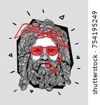 modern sculpture. t shirt...   Shutterstock .eps vector #754195249