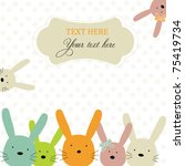 Card with colorful rabbits for life events - stock vector