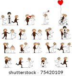 set of wedding pictures  bride... | Shutterstock .eps vector #75420109
