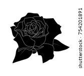 black silhouette roses and...   Shutterstock .eps vector #754201891