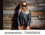 beautiful blonde girl posing in ... | Shutterstock . vector #754203031