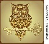 stylized owl covered in celtic... | Shutterstock .eps vector #754203991