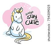 cute cartoon unicorn sitting in ... | Shutterstock .eps vector #754209025