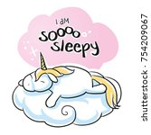 cute cartoon unicorn sleeping... | Shutterstock .eps vector #754209067