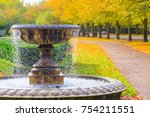 peaceful scenery with fountain... | Shutterstock . vector #754211551