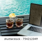 relax zone drink and eat at... | Shutterstock . vector #754212349
