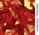 vector tropical palm leaves... | Shutterstock .eps vector #754213849
