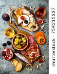 appetizers table with italian... | Shutterstock . vector #754215337