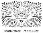 hand sketched vector winter set ... | Shutterstock .eps vector #754218229